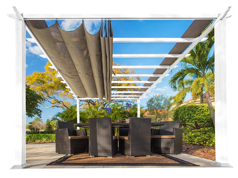 Florence White Aluminum Pergola with a Sand Color Canopy