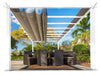 Image of Florence White Aluminum Pergola with a Sand Color Canopy