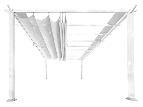 Florence White Aluminum Pergola with a White Color Canopy