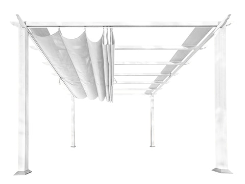 Florence White Aluminum Pergola with a White Color Convertible  Canopy Top