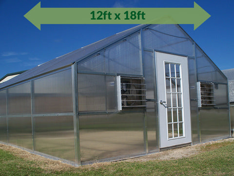 Image of Riverstone Industries (RSI) 12ft x 18ft Whitney Premium Educational Greenhouse  R12188-P(G) - full view - green arrow on top with dimensions