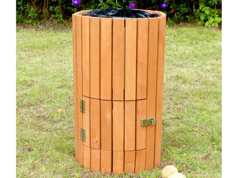 Closed side door of Wooden Potato Planter in a garden