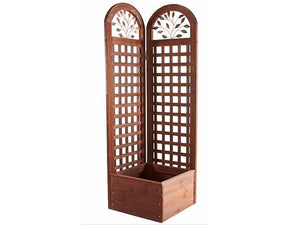 Wooden Trellis Screen & Planter System Front View with white background