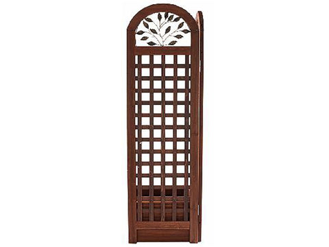 Wooden Trellis Screen & Planter System Rear View with white background