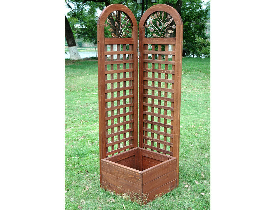 Wooden Trellis Screen & Planter System Front View in the garden