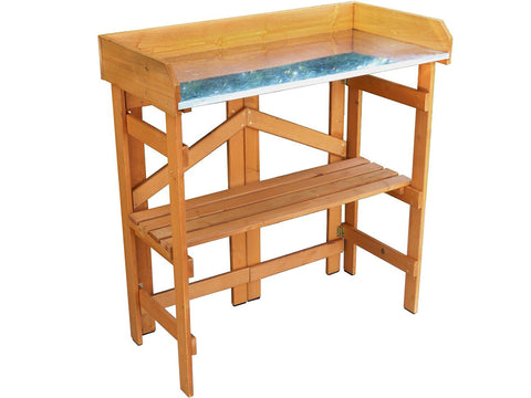 Image of Empty Folding Potting Bench with Zinc Surface - White background
