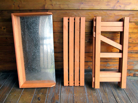 Image of Folding Potting Bench with Zinc Surface in three separate parts