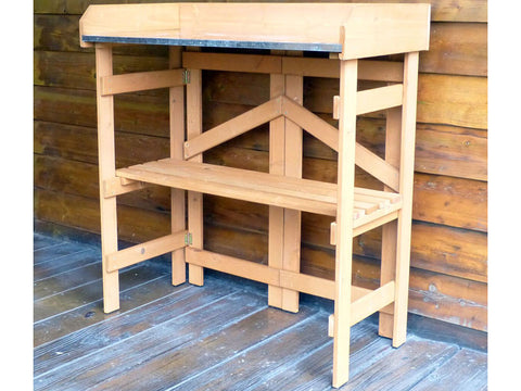 Empty Folding Potting Bench with Zinc Surface - by the wall