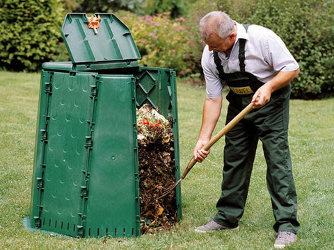 Image of An old man using Aeroquick Composter
