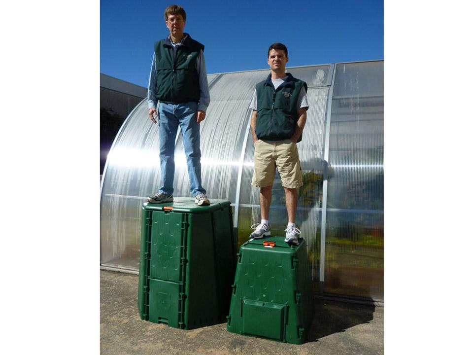 Man standing on top of each bin. The Aeroquick Composter is Incredibly Durable.