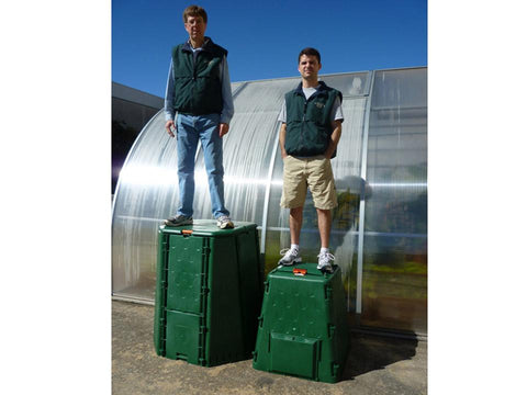 Image of Man standing on top of each bin. The Aeroquick Composter is Incredibly Durable.