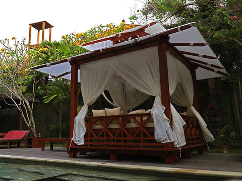 Image of Side view of Handcrafted Balinese Solid Wood Gazebo