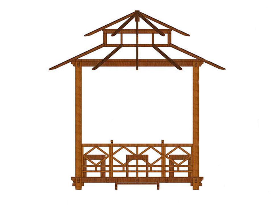 Bare layout of Handcrafted Balinese Solid Wood Gazebo in white background