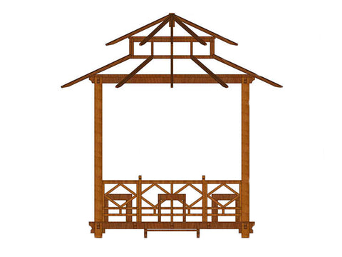 Image of Bare layout of Handcrafted Balinese Solid Wood Gazebo in white background