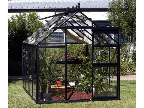 Frontal view of the Janssens Junior Victorian J-VIC 23 Greenhouse with open sliding door