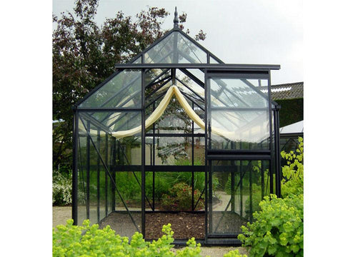 Front view of the Janssens Junior Victorian J-VIC 23 Greenhouse 8ft x 10ft without plants inside