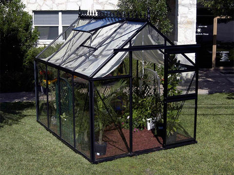 Image of Side/front view of the black Janssens Junior Victorian J-VIC 23 Glass Greenhouse 8ft x 10ft