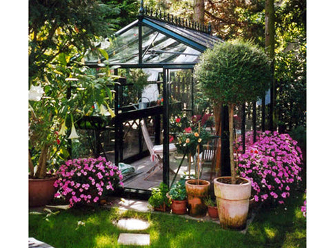 Image of Front of the Janssens Royal Victorian VI 23 Greenhouse 8ft x 10ft located in a garden