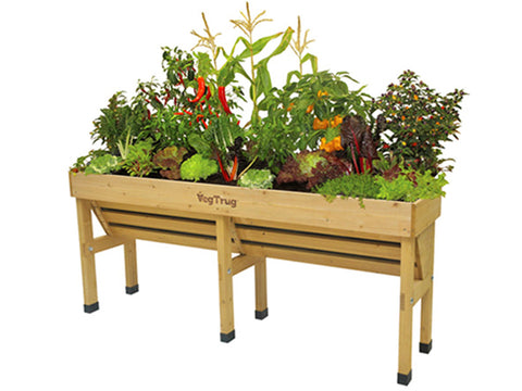 Image of Medium VegTrug Wall Hugger Planter Dimensions with plants