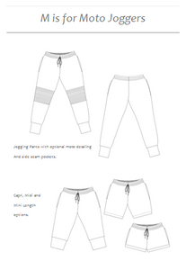 M is for Moto Joggers - Instant download PDF sewing pattern