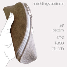 Load image into Gallery viewer, The T is for Taco Clutch - Felt or leather zip clutch purse PDF sewing pattern