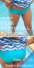 Load image into Gallery viewer, Girls Swim Bottoms - FREE instant download PDF sewing pattern