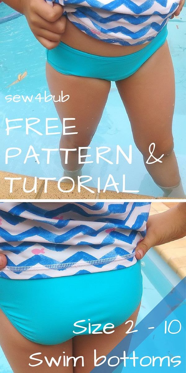 Girls Swim Bottoms - FREE instant download PDF sewing pattern