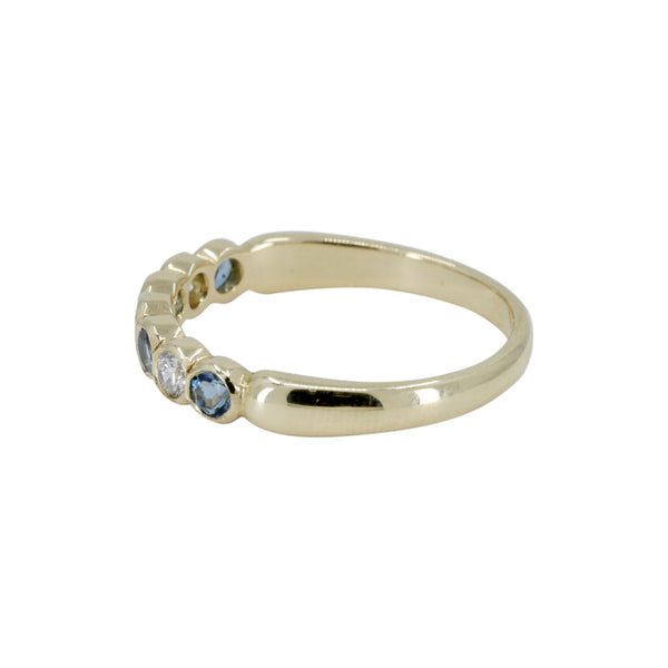 Aquamarine and Diamond 1/2 eternity Ring
