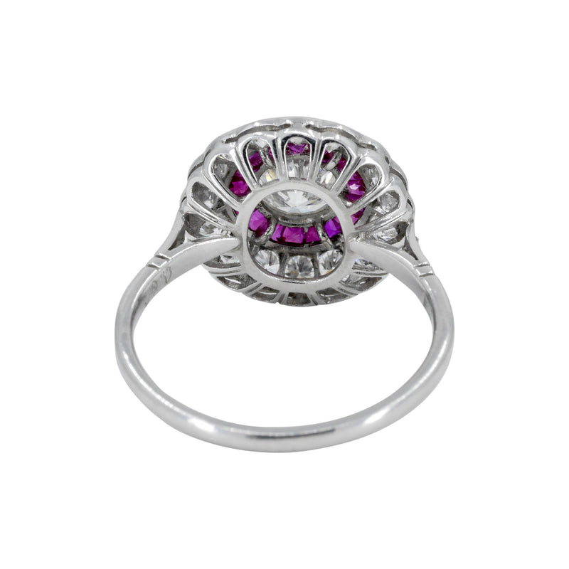 Art Deco Style Ruby and Diamond Target Ring