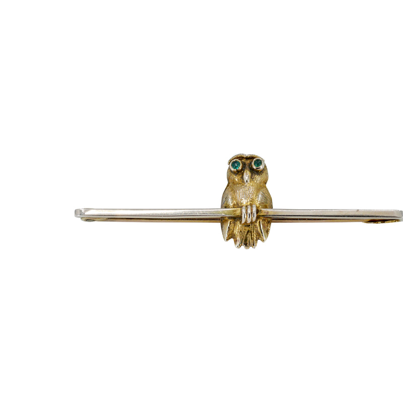Owl bar brooch