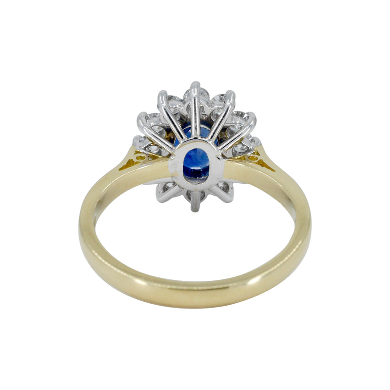 *Sapphire and Diamond Cluster Ring