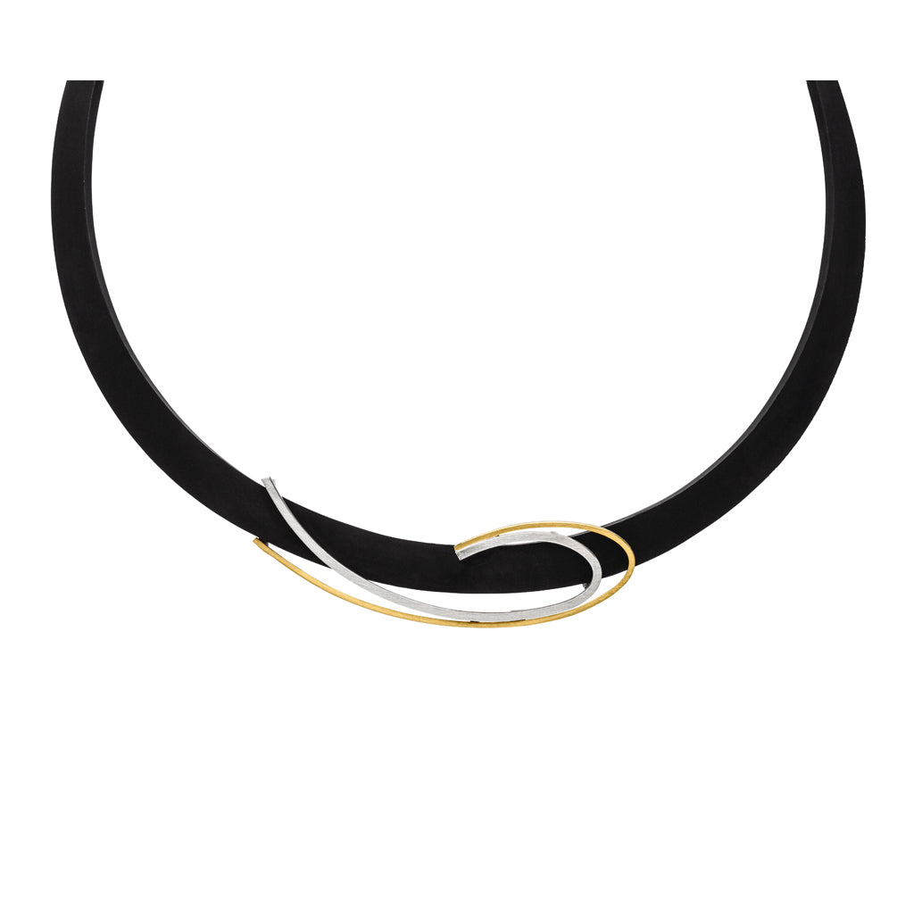 *NEW* MANU RUBBER NECKLACE WITH SILVER AND GOLD