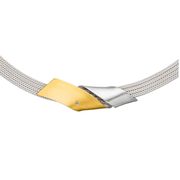 *new* MANU SILVER & GOLD NECKLACE WITH DIAMOND