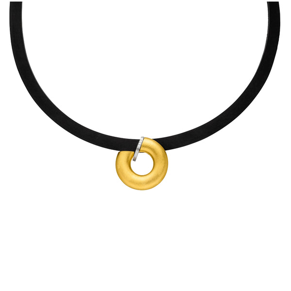 MANU RUBBER, SILVER AND GOLD NECKLACE WITH DIAMONDS