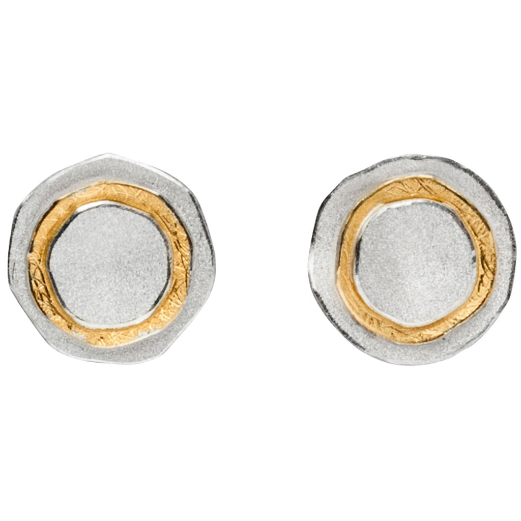 MANU silver & gold stud earrings