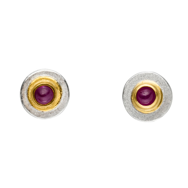 MANU SILVER AND GOLD RUBY EARRINGS