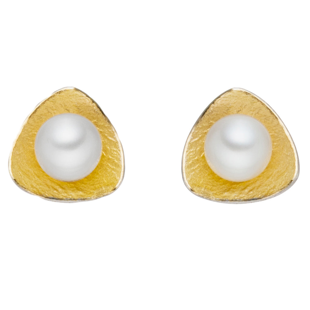 MANU SILVER & GOLD STUDS WITH PEARL