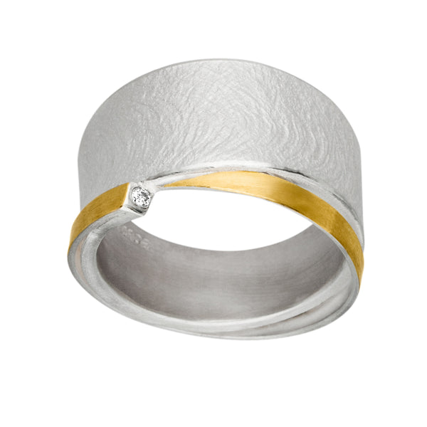 *NEW* MANU SILVER & GOLD RING WITH DIAMOND