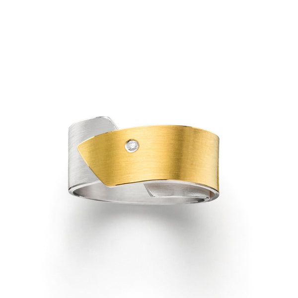 manu silver, gold & diamond ring