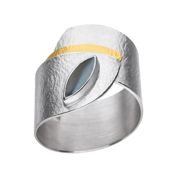 *new* MANU SILVER & GOLD RING WITH MOONSTONE