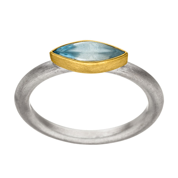 *NEW* MANU SILVER & GOLD RING WITH TOPAZ