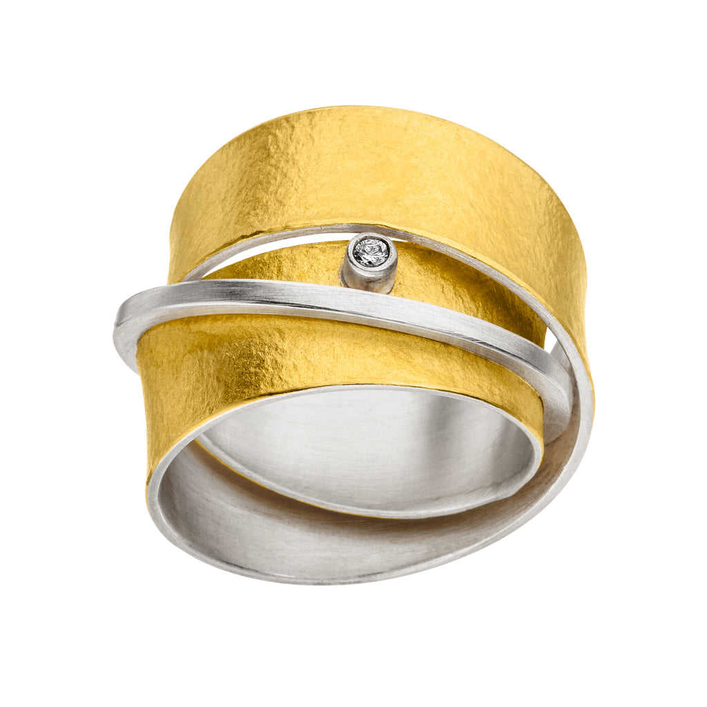 MANU SILVER & GOLD RING WITH DIAMOND