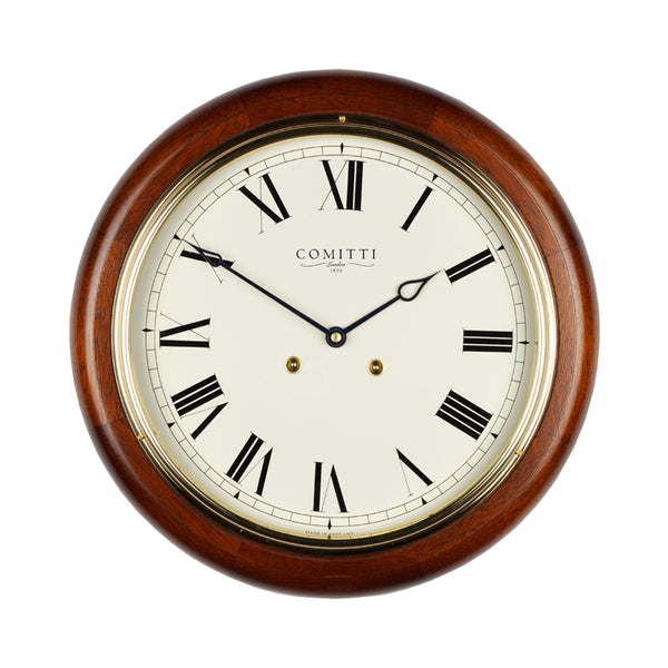 Comitti Mahogany Station Clock