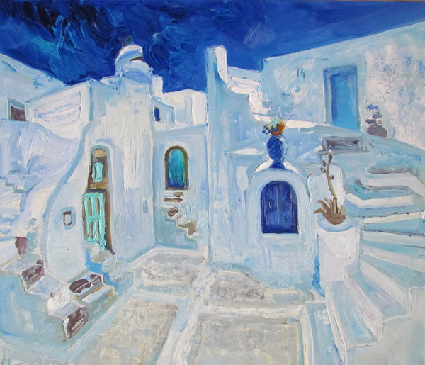 Large Artwork Prints of A Santorini Home In The Style Of Van Gogh - Large Art Prints by Roselyn Imani