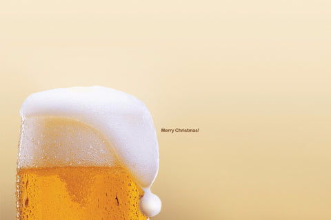Beer Foam as Santa Hat