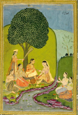 A portrait of a European lady, reverse with ladies picnicking in a garden, Lucknow, circa 1760-70 - Posters