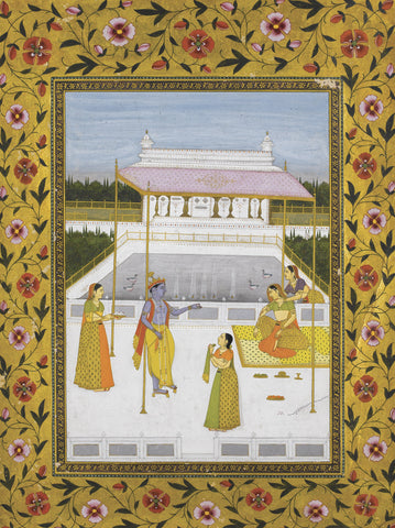Indian Miniature Art - Pahari Painting-Krishna And Gopis