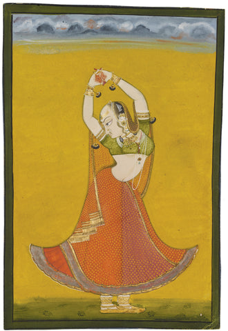 Indian Miniature Art - Folk Art - Dancing Lady
