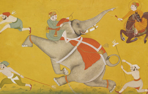 Indian Miniature Art - Pahari Style - The Battle