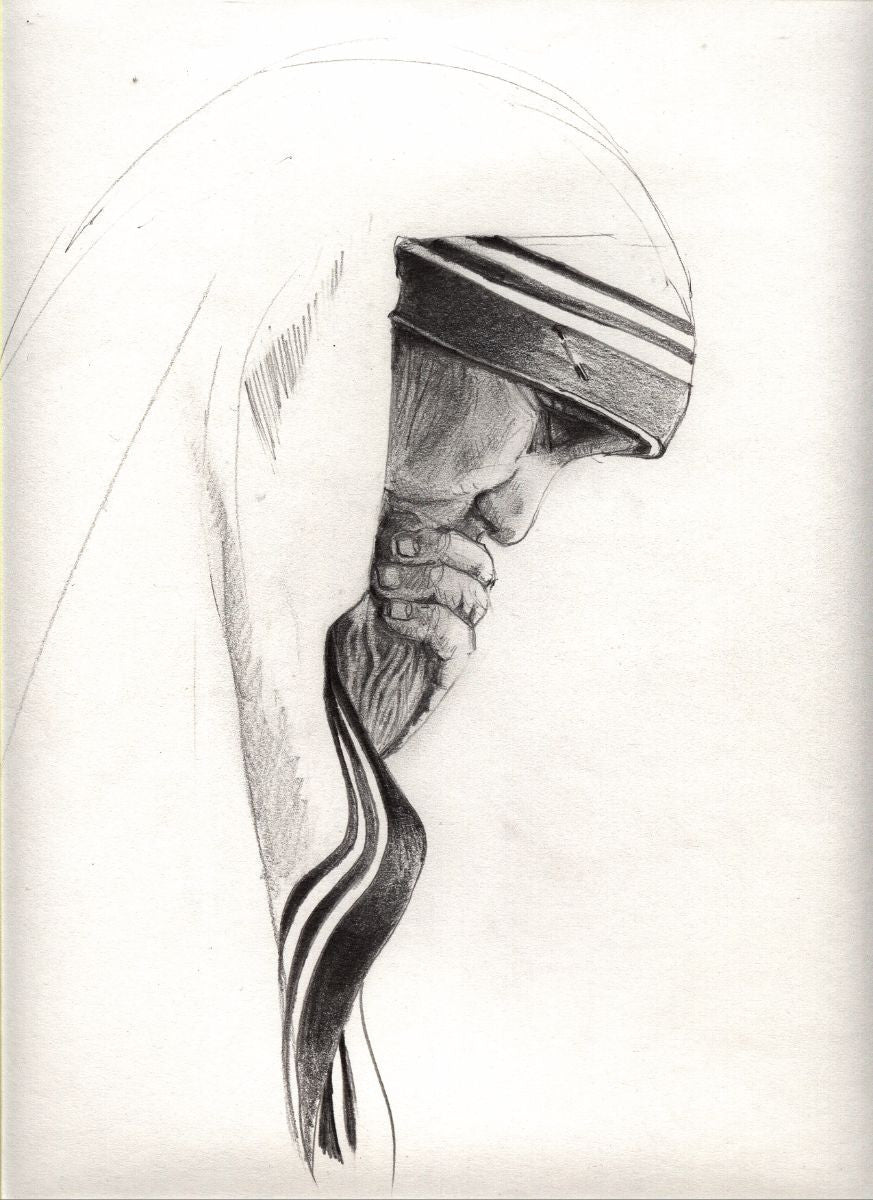 Pencil sketch mother teresa large art prints